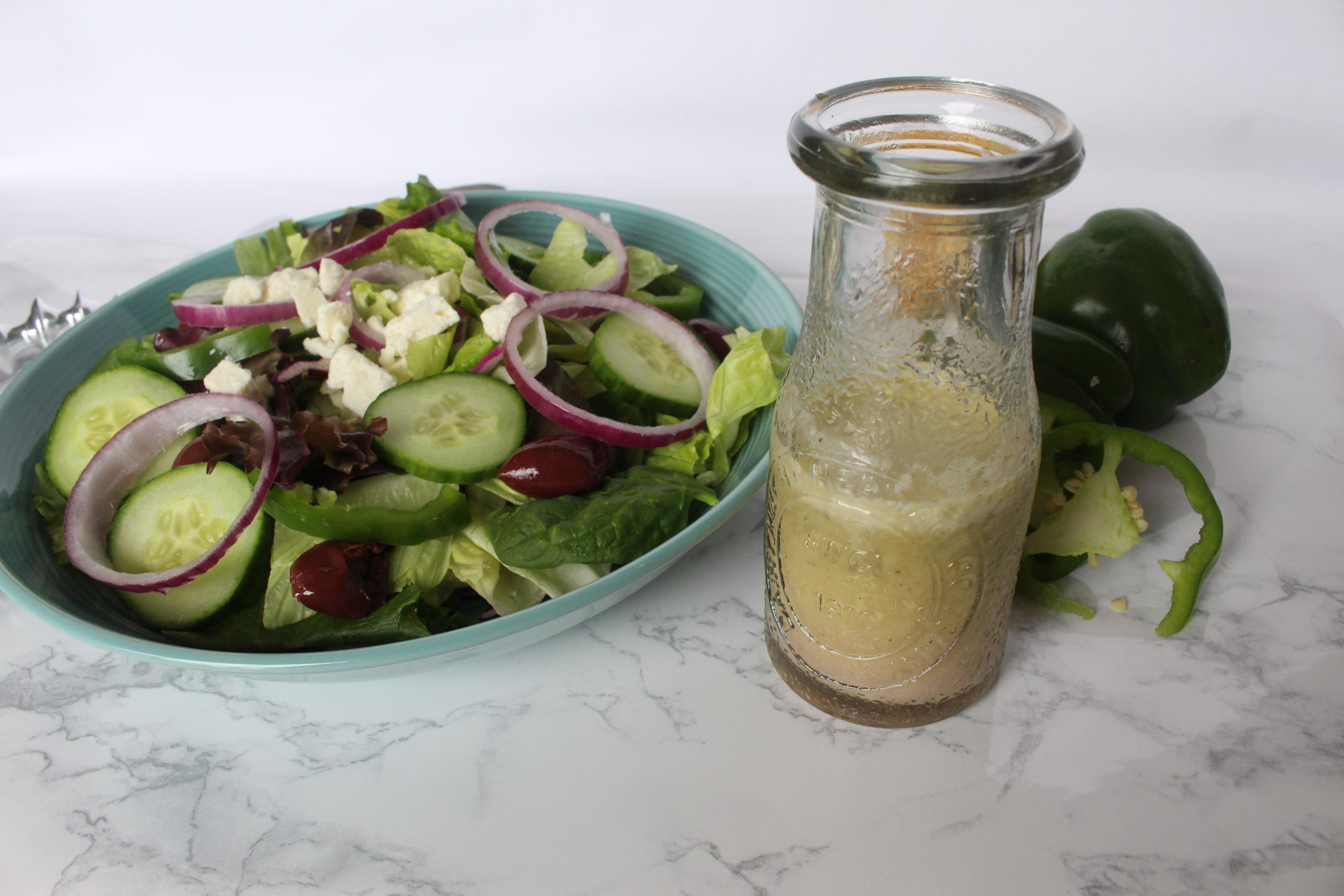 The BEST healthy Greek salad dressing