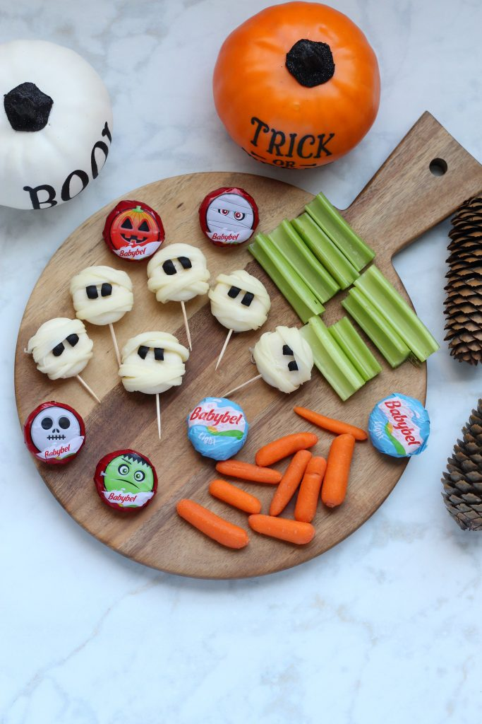 babybel cheese halloween mummy cheese faces